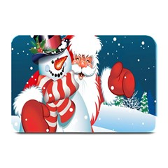 Hello Merry Christmas Santa Claus Snow Blue Sky Plate Mats by Alisyart