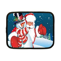 Hello Merry Christmas Santa Claus Snow Blue Sky Netbook Case (small)