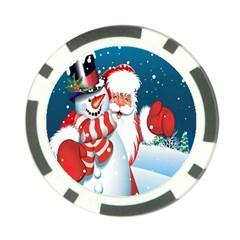 Hello Merry Christmas Santa Claus Snow Blue Sky Poker Chip Card Guard (10 Pack) by Alisyart