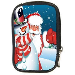 Hello Merry Christmas Santa Claus Snow Blue Sky Compact Camera Cases by Alisyart