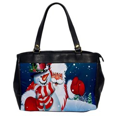 Hello Merry Christmas Santa Claus Snow Blue Sky Office Handbags by Alisyart