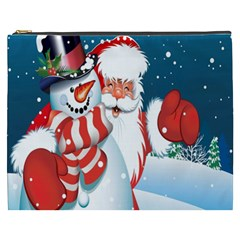 Hello Merry Christmas Santa Claus Snow Blue Sky Cosmetic Bag (xxxl)