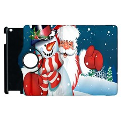 Hello Merry Christmas Santa Claus Snow Blue Sky Apple Ipad 2 Flip 360 Case by Alisyart