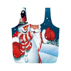 Hello Merry Christmas Santa Claus Snow Blue Sky Full Print Recycle Bags (m)