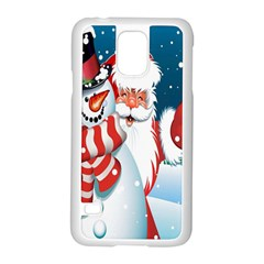 Hello Merry Christmas Santa Claus Snow Blue Sky Samsung Galaxy S5 Case (white)