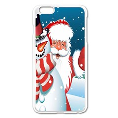 Hello Merry Christmas Santa Claus Snow Blue Sky Apple Iphone 6 Plus/6s Plus Enamel White Case by Alisyart