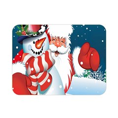 Hello Merry Christmas Santa Claus Snow Blue Sky Double Sided Flano Blanket (mini)  by Alisyart