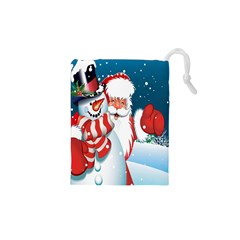 Hello Merry Christmas Santa Claus Snow Blue Sky Drawstring Pouches (xs)  by Alisyart