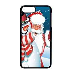 Hello Merry Christmas Santa Claus Snow Blue Sky Apple Iphone 8 Plus Seamless Case (black) by Alisyart