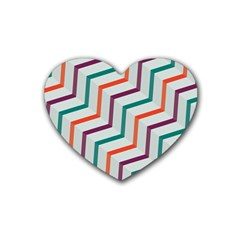 Line Color Rainbow Rubber Coaster (heart)