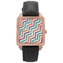 Line Color Rainbow Rose Gold Leather Watch  by Alisyart