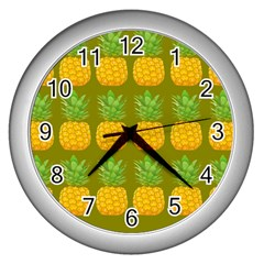 Fruite Pineapple Yellow Green Orange Wall Clocks (silver)  by Alisyart