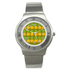 Fruite Pineapple Yellow Green Orange Stainless Steel Watch
