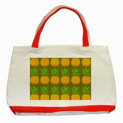 Fruite Pineapple Yellow Green Orange Classic Tote Bag (red) by Alisyart
