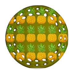 Fruite Pineapple Yellow Green Orange Ornament (round Filigree)