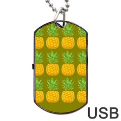 Fruite Pineapple Yellow Green Orange Dog Tag Usb Flash (one Side)