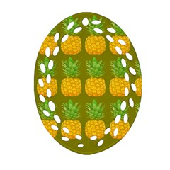 Fruite Pineapple Yellow Green Orange Oval Filigree Ornament (two Sides) by Alisyart