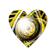 Incredible Eye Of A Yellow Construction Robot Heart Magnet by jayaprime
