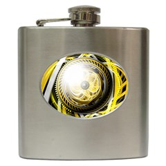 Incredible Eye Of A Yellow Construction Robot Hip Flask (6 Oz) by jayaprime