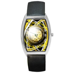 Incredible Eye Of A Yellow Construction Robot Barrel Style Metal Watch by jayaprime