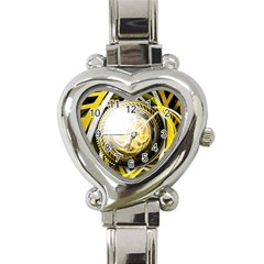 Incredible Eye Of A Yellow Construction Robot Heart Italian Charm Watch by jayaprime