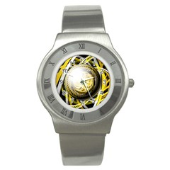 Incredible Eye Of A Yellow Construction Robot Stainless Steel Watch by jayaprime