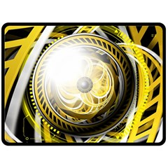 Incredible Eye Of A Yellow Construction Robot Double Sided Fleece Blanket (large)  by jayaprime
