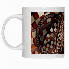 Midnight Never Ends, A Red Checkered Diner Fractal White Mugs by jayaprime