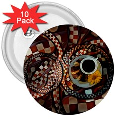 Midnight Never Ends, A Red Checkered Diner Fractal 3  Buttons (10 Pack)  by jayaprime