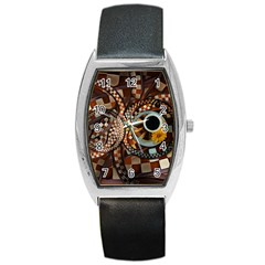 Midnight Never Ends, A Red Checkered Diner Fractal Barrel Style Metal Watch by jayaprime