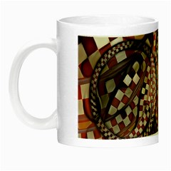 Midnight Never Ends, A Red Checkered Diner Fractal Night Luminous Mugs by jayaprime