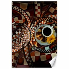 Midnight Never Ends, A Red Checkered Diner Fractal Canvas 12  X 18   by jayaprime