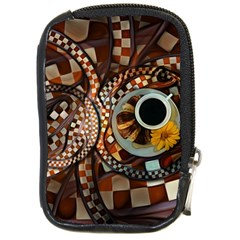 Midnight Never Ends, A Red Checkered Diner Fractal Compact Camera Cases by jayaprime