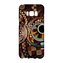 Midnight Never Ends, A Red Checkered Diner Fractal Samsung Galaxy S8 Hardshell Case  by jayaprime