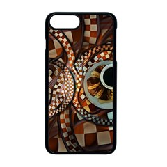 Midnight Never Ends, A Red Checkered Diner Fractal Apple Iphone 8 Plus Seamless Case (black)