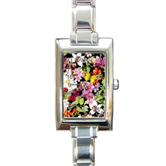 Beautiful,floral,hand painted, flowers,black,background,modern,trendy,girly,retro Rectangle Italian Charm Watch