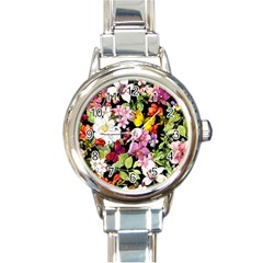 Beautiful,floral,hand painted, flowers,black,background,modern,trendy,girly,retro Round Italian Charm Watch