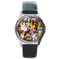 Beautiful,floral,hand painted, flowers,black,background,modern,trendy,girly,retro Round Metal Watch