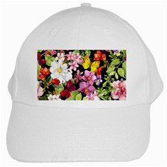 Beautiful,floral,hand painted, flowers,black,background,modern,trendy,girly,retro White Cap