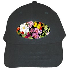 Beautiful,floral,hand painted, flowers,black,background,modern,trendy,girly,retro Black Cap