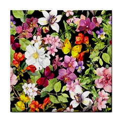 Beautiful,floral,hand painted, flowers,black,background,modern,trendy,girly,retro Tile Coasters