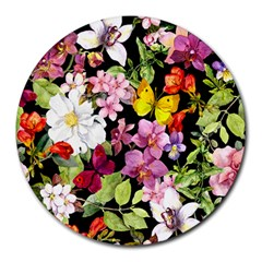 Beautiful,floral,hand painted, flowers,black,background,modern,trendy,girly,retro Round Mousepads