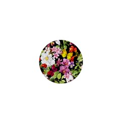 Beautiful,floral,hand painted, flowers,black,background,modern,trendy,girly,retro 1  Mini Buttons
