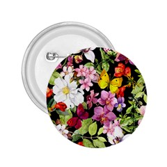 Beautiful,floral,hand painted, flowers,black,background,modern,trendy,girly,retro 2.25  Buttons