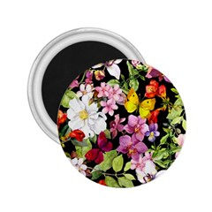Beautiful,floral,hand painted, flowers,black,background,modern,trendy,girly,retro 2.25  Magnets