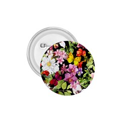 Beautiful,floral,hand painted, flowers,black,background,modern,trendy,girly,retro 1.75  Buttons