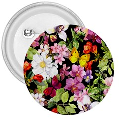 Beautiful,floral,hand painted, flowers,black,background,modern,trendy,girly,retro 3  Buttons
