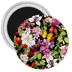 Beautiful,floral,hand painted, flowers,black,background,modern,trendy,girly,retro 3  Magnets