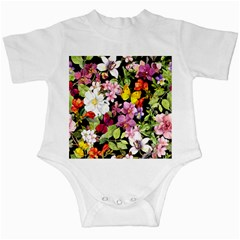 Beautiful,floral,hand painted, flowers,black,background,modern,trendy,girly,retro Infant Creepers