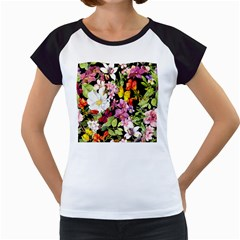 Beautiful,floral,hand painted, flowers,black,background,modern,trendy,girly,retro Women s Cap Sleeve T
